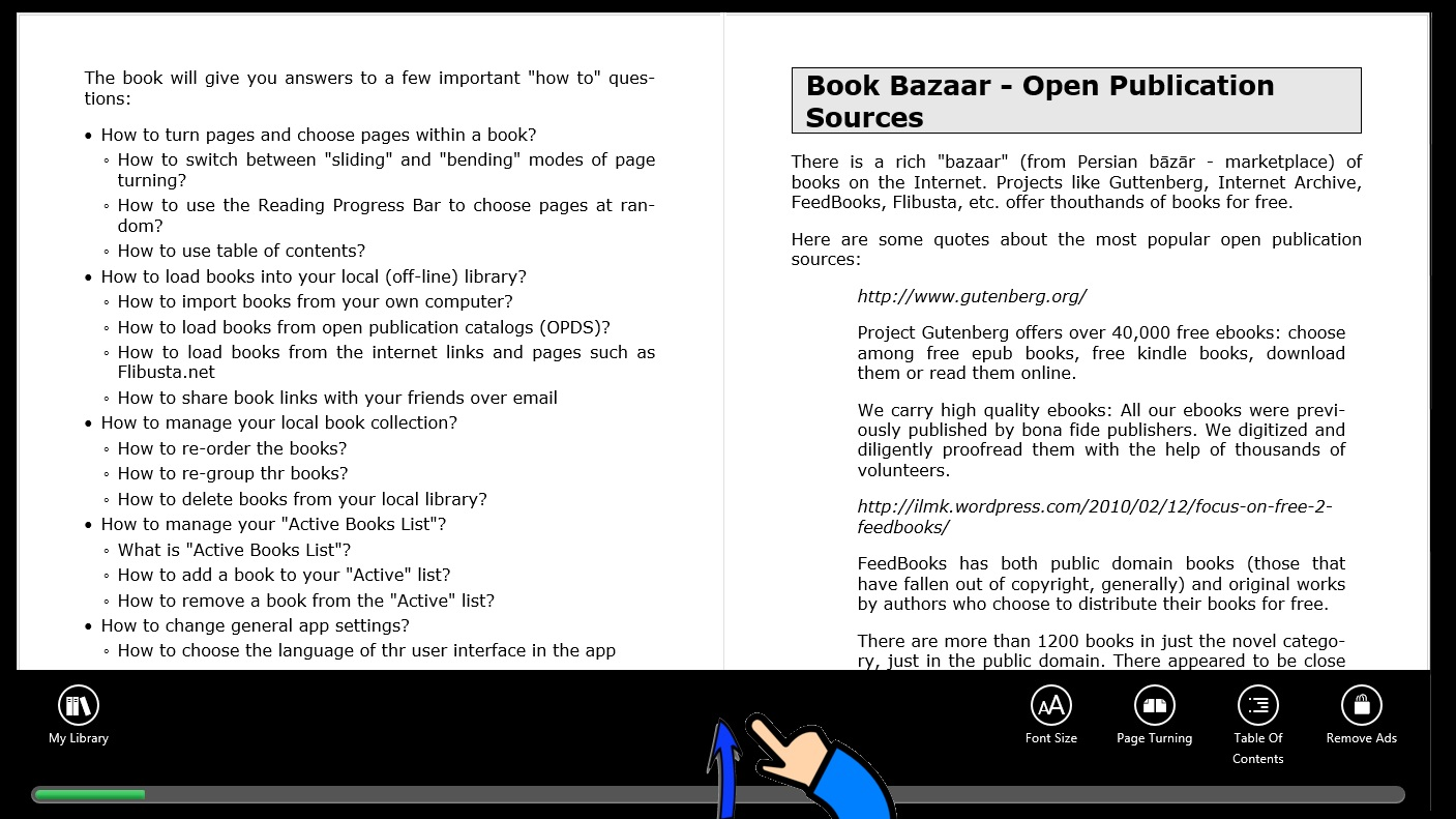 How To Turn Pages in Book Bazaar Reader